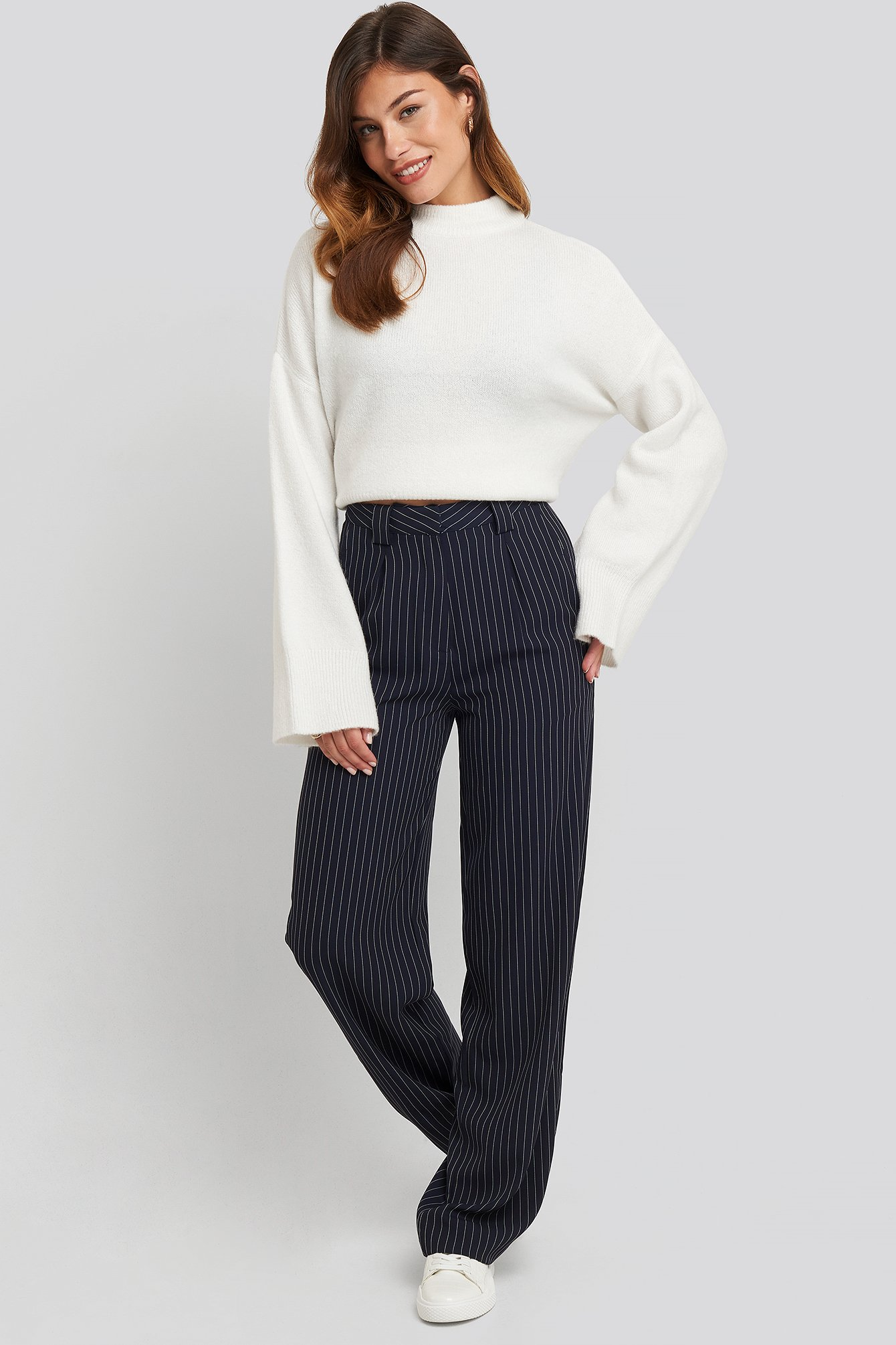 Dark Navy Flared Striped Pants