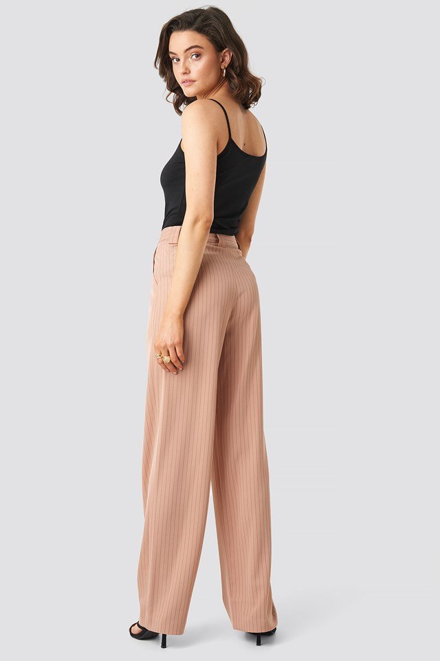 Flared Striped Pants Dusty Pink