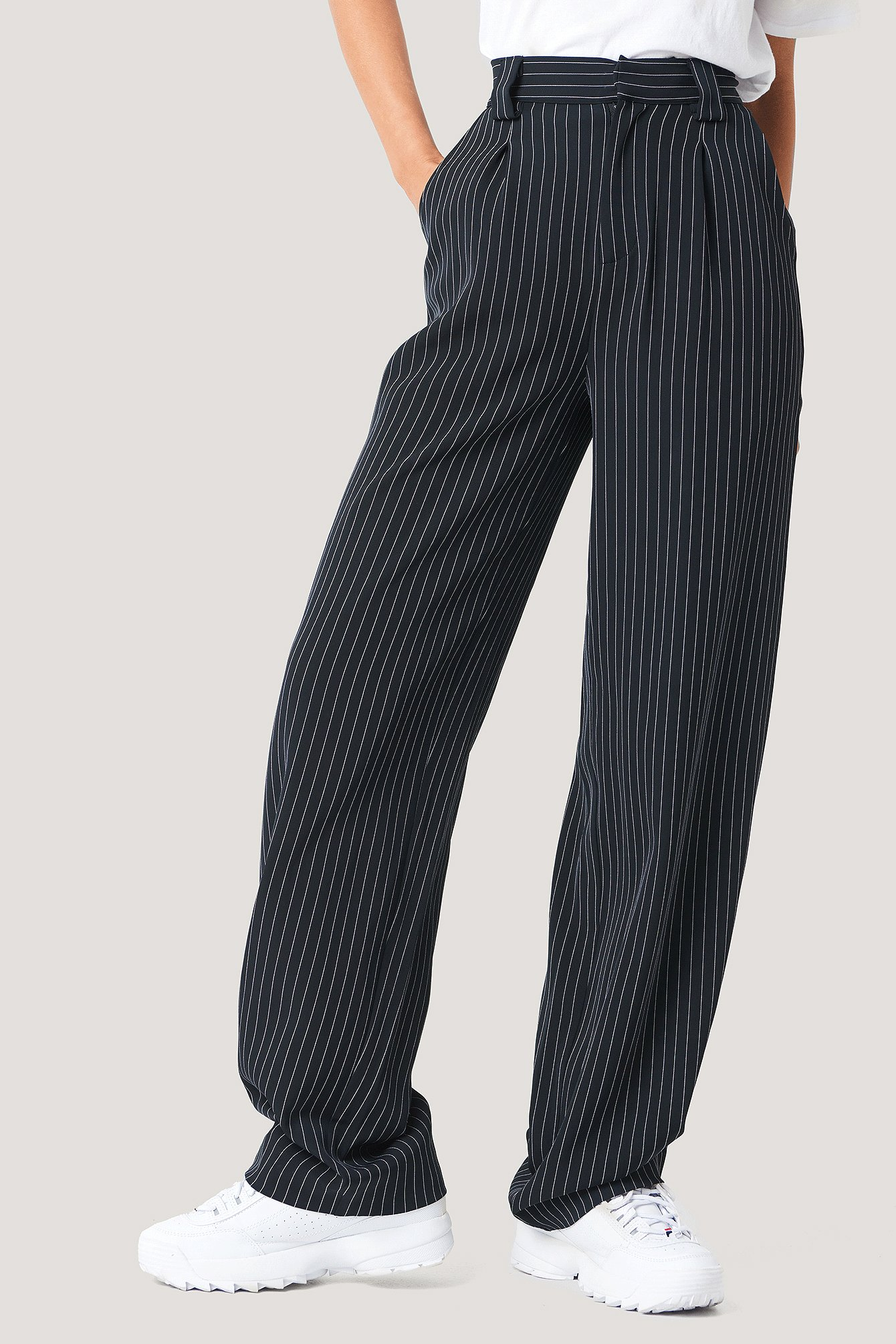 Black/Stripe Flared Striped Pants