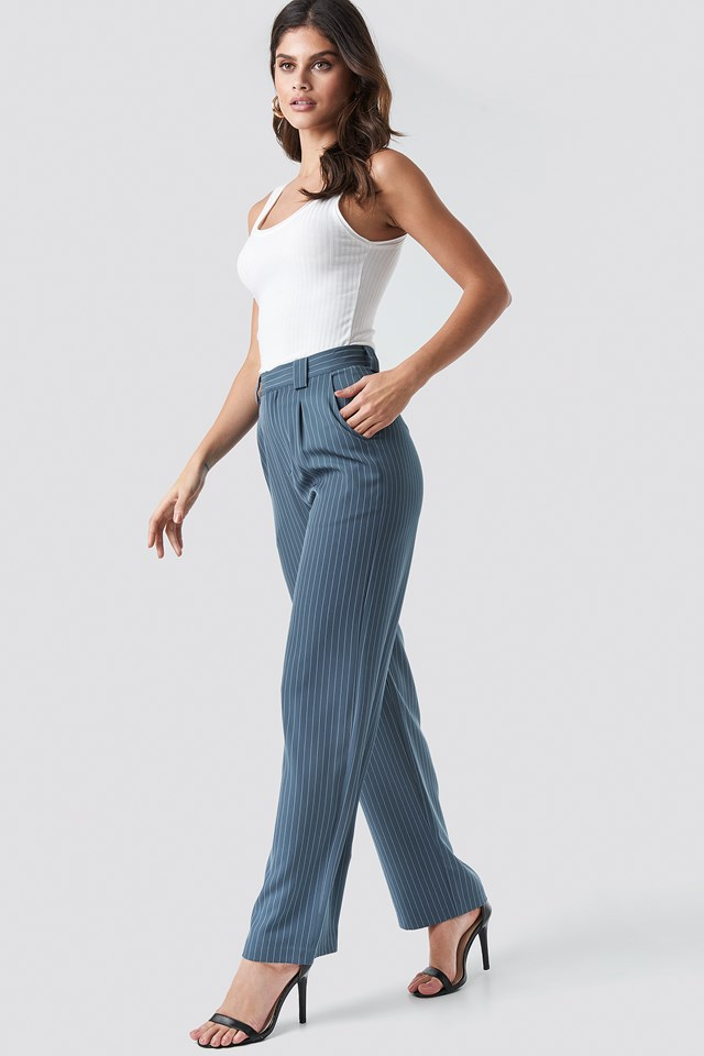 Flared Striped Pants NA-KD Classic