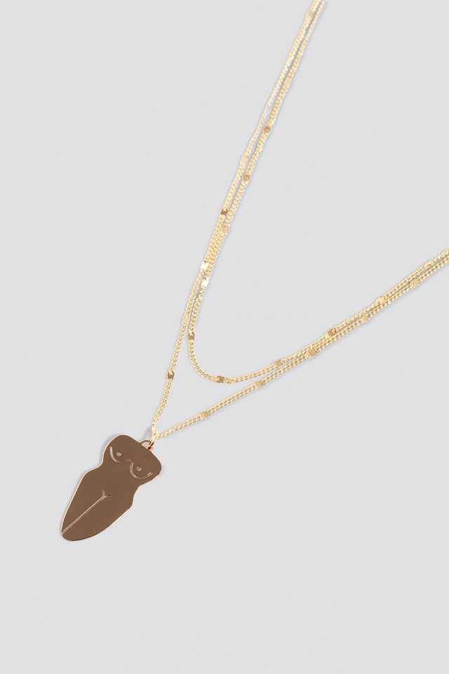 Flat Body Shape Necklace Gold
