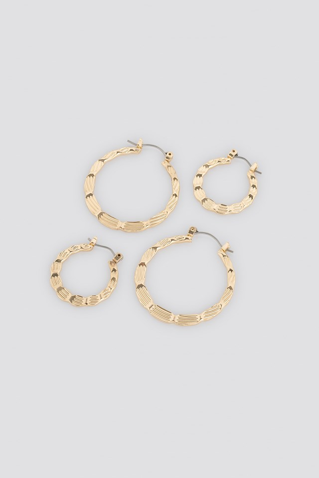 Flat Hammered Hoop Earrings (Double Pack) Gold