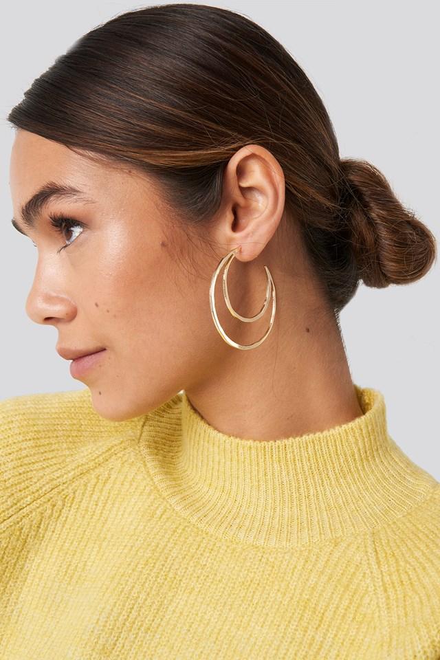 Flat Moon Earrings Gold