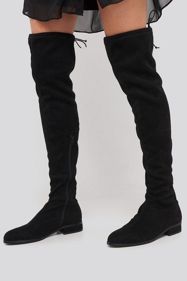 Flat Overknee Boots Black