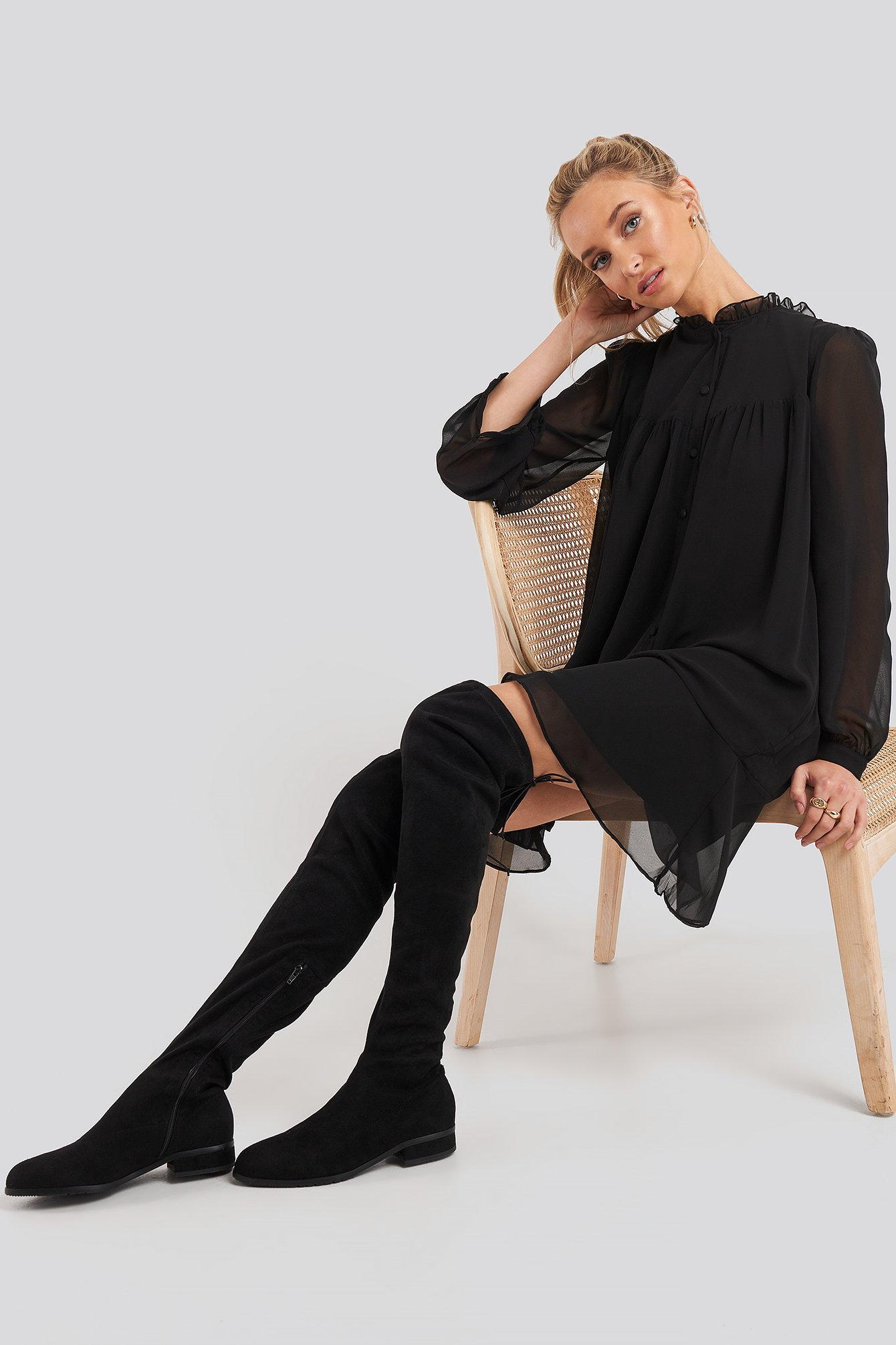 na-kd shoes -  Flat Overknee Boots - Black