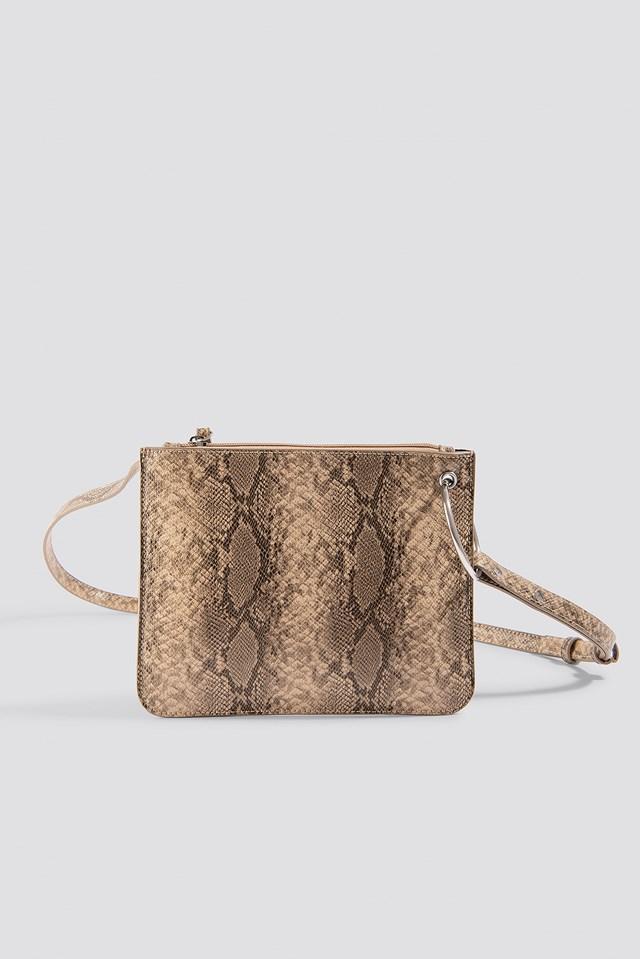 Flat Shoulder Bag Beige