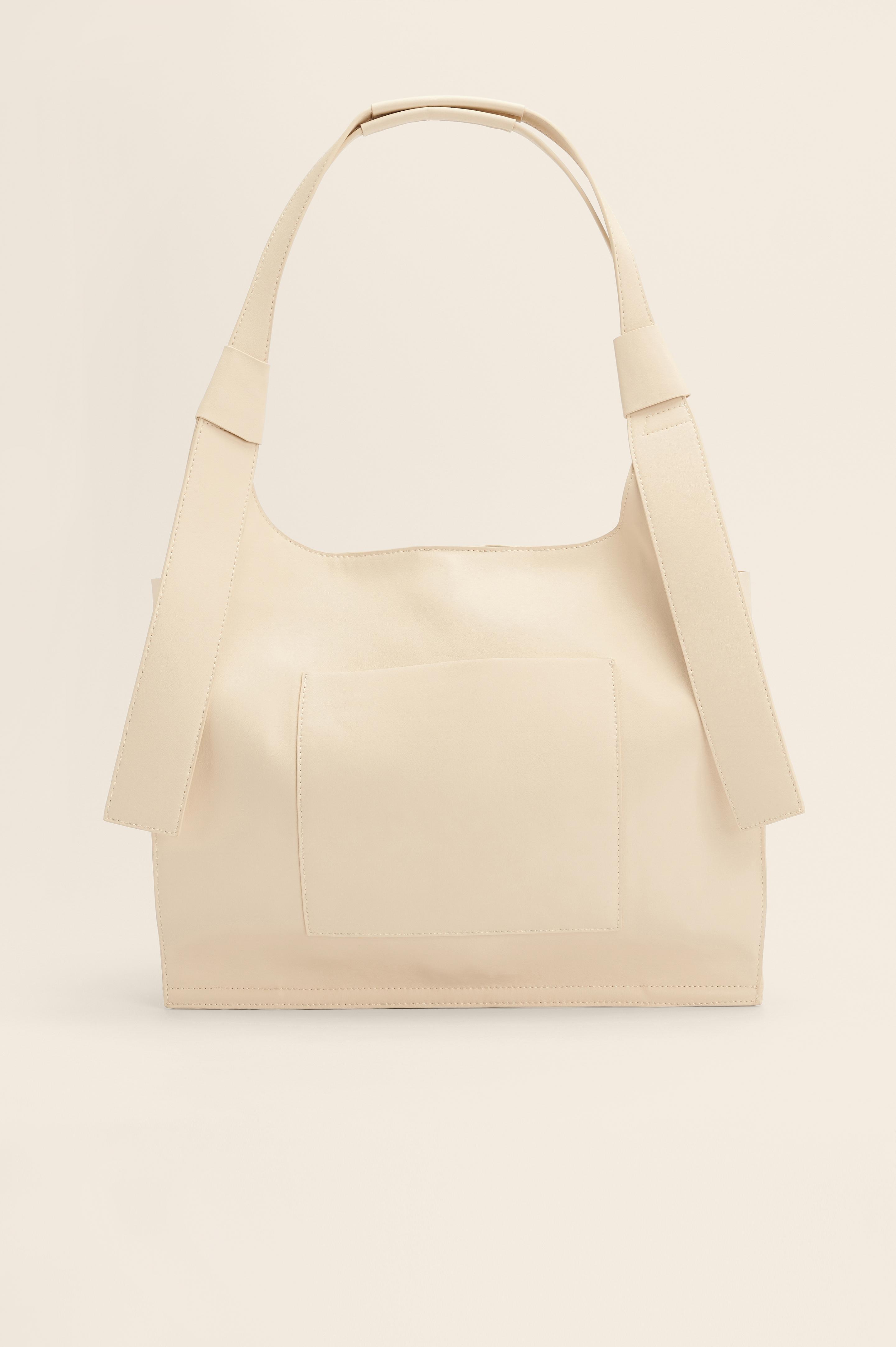 NA-KD Accessories Genanvendt Stor Firkantet Shoppingtaske - Offwhite
