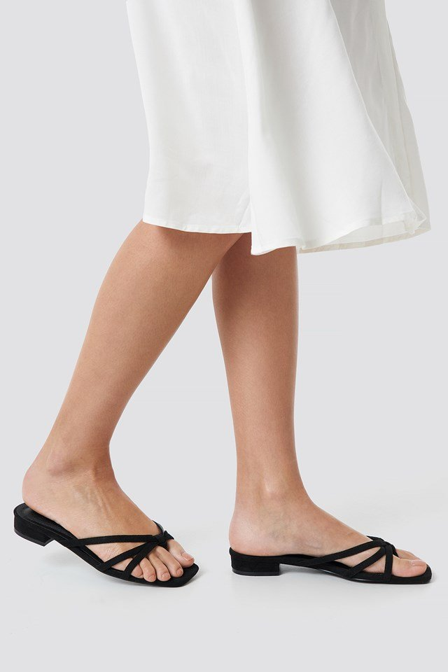 Flat Strappy Sandals Black
