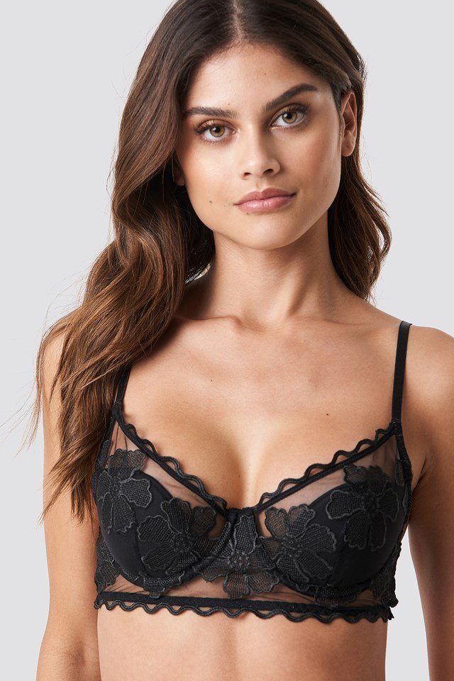 Floral Embroidery Cup Bra Black