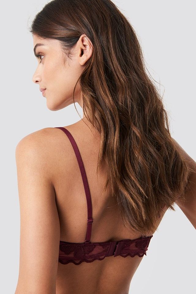 Floral Embroidery Cup Bra Dark Red