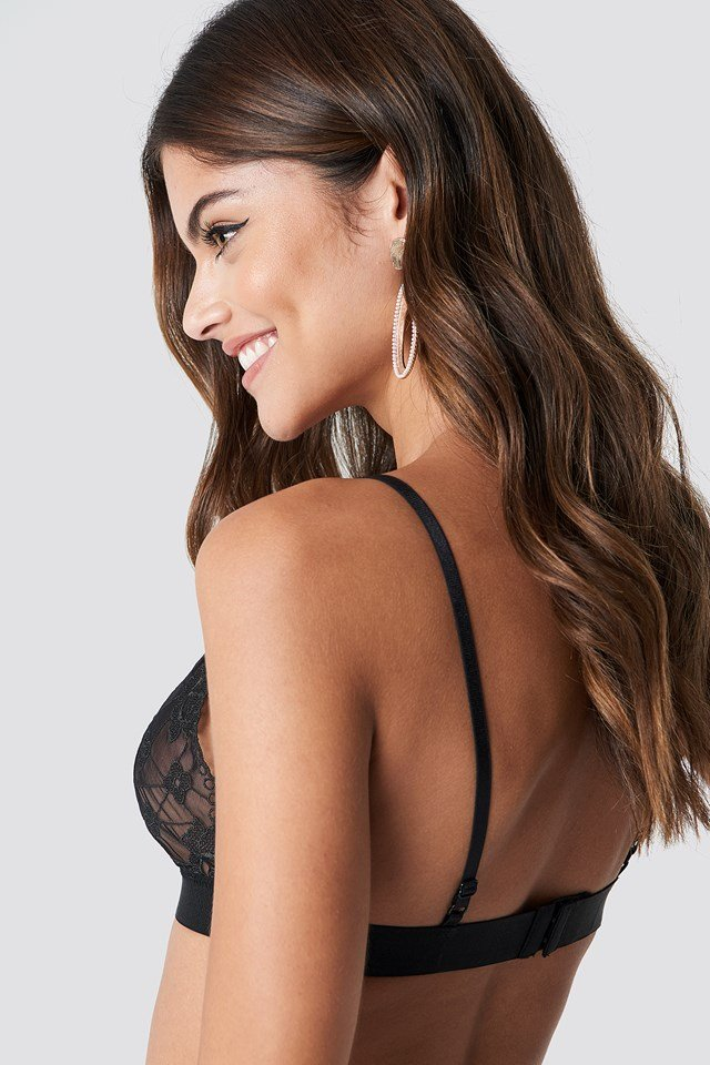Floral Embroidery Mesh Bra Black