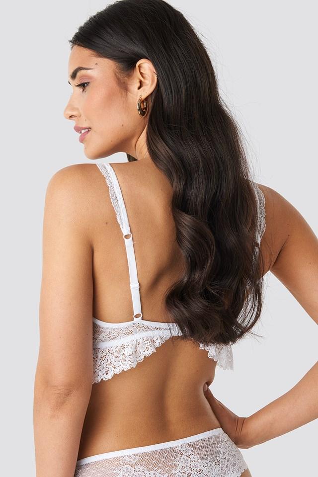 Floral Flounce Lace Bra White
