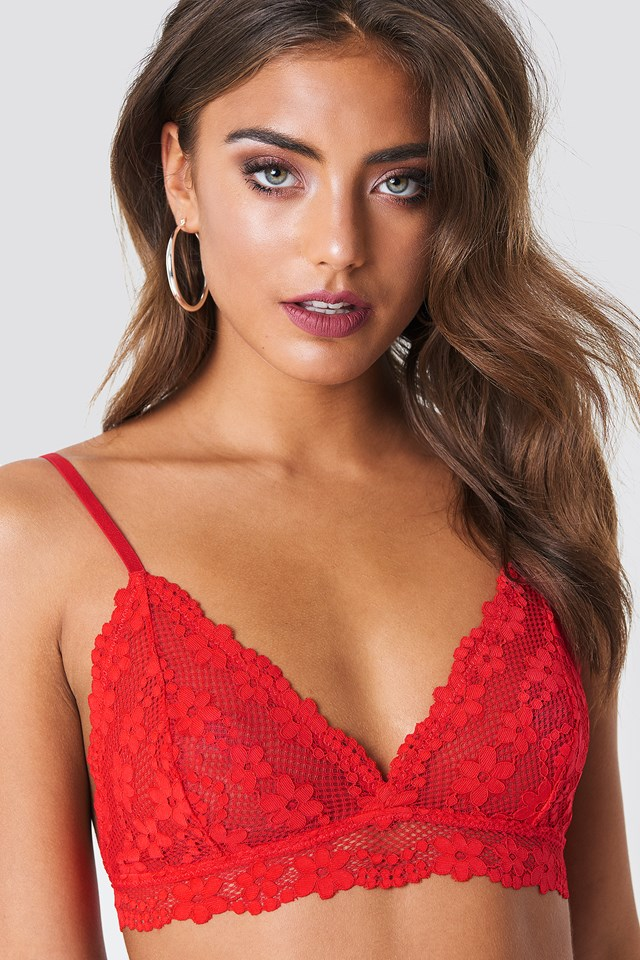 Floral Lace Strap Bra Red