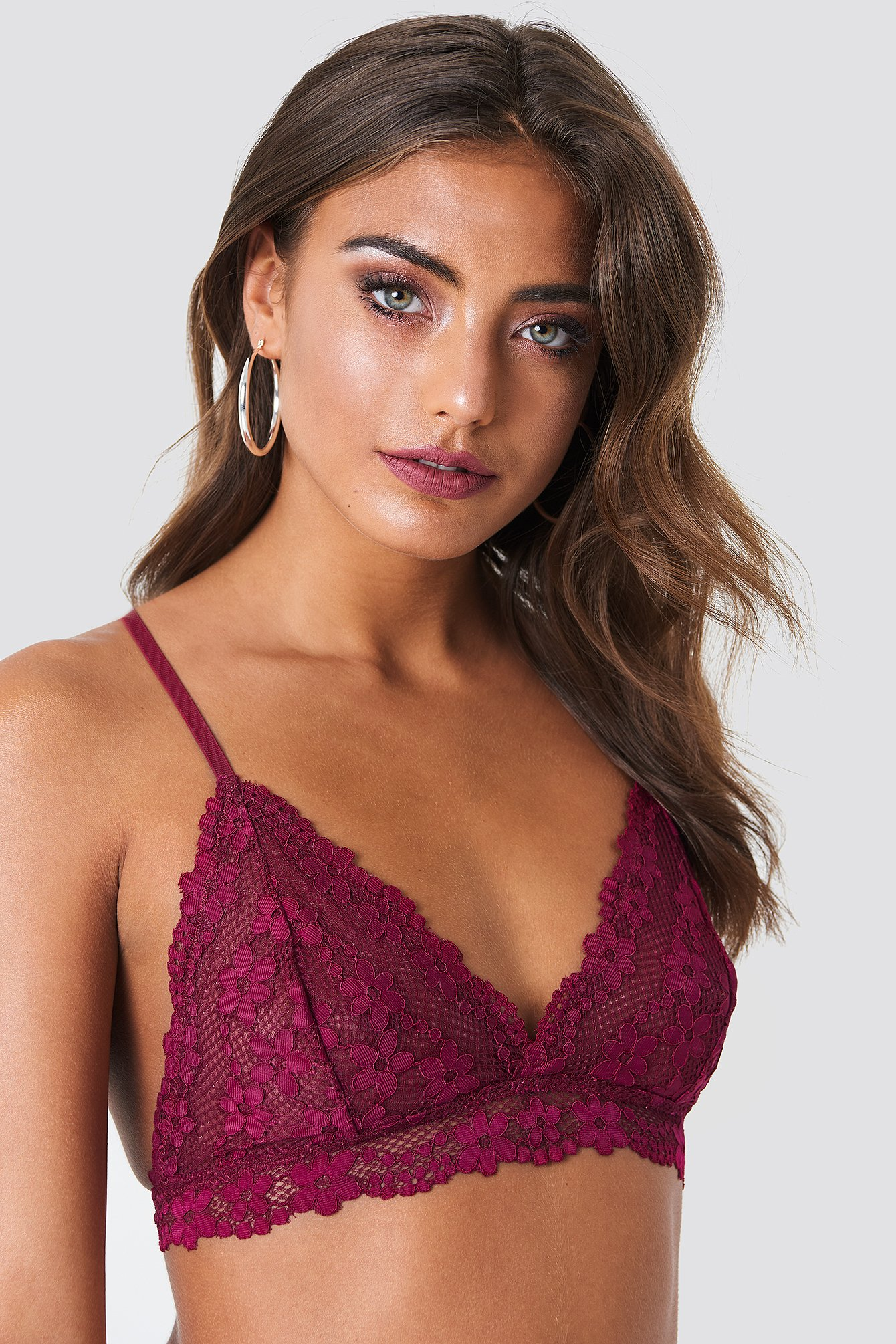FLORAL LACE STRAP BRA - RED
