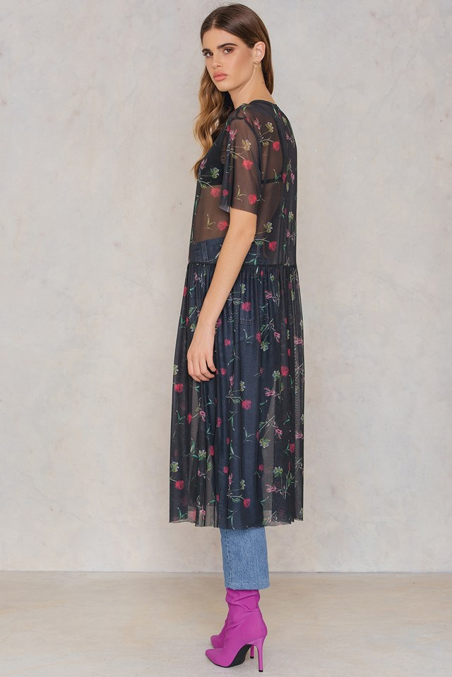 Floral Mesh Dress Black/Flower Print
