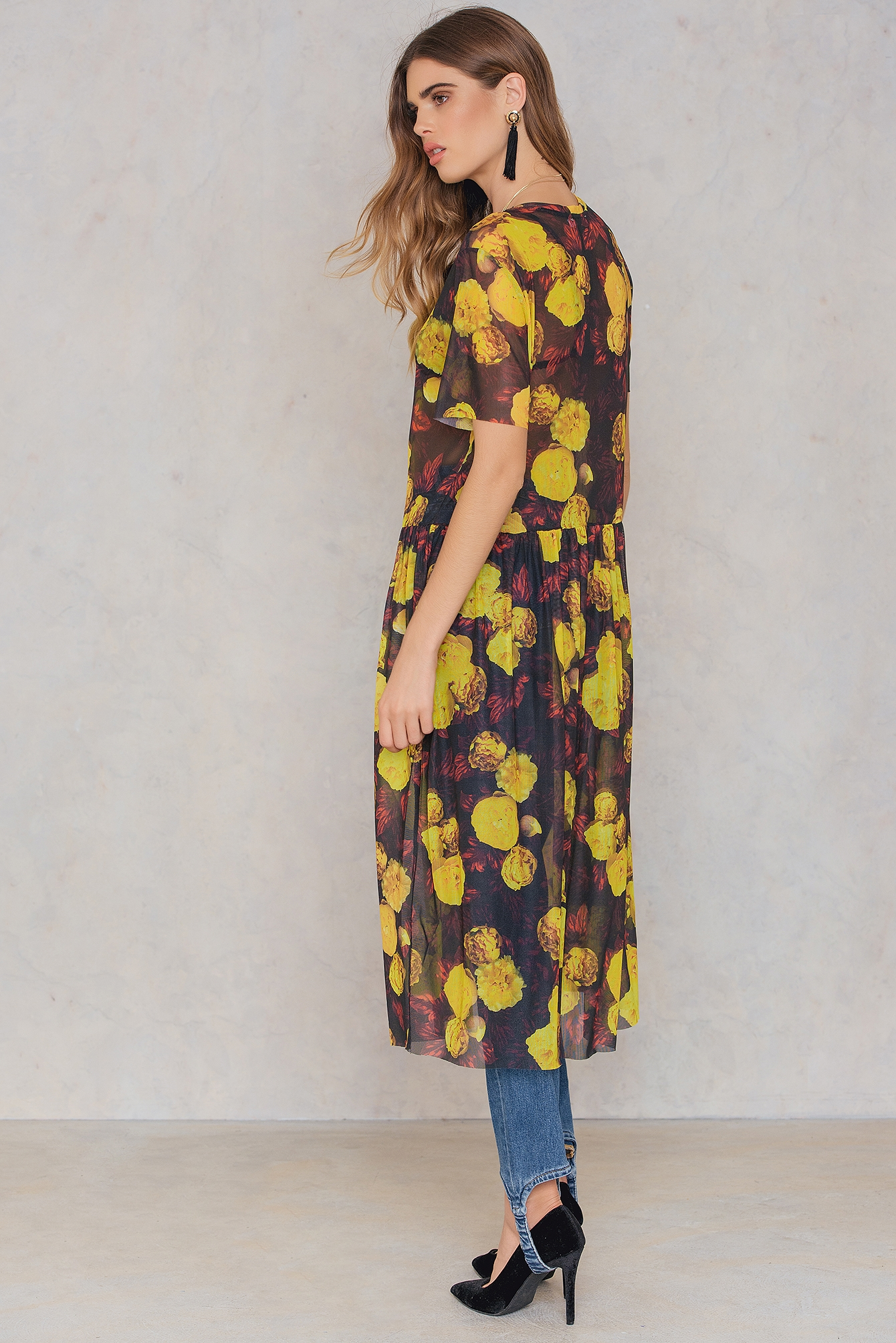 Yellow/Red Print Floral Mesh Dress