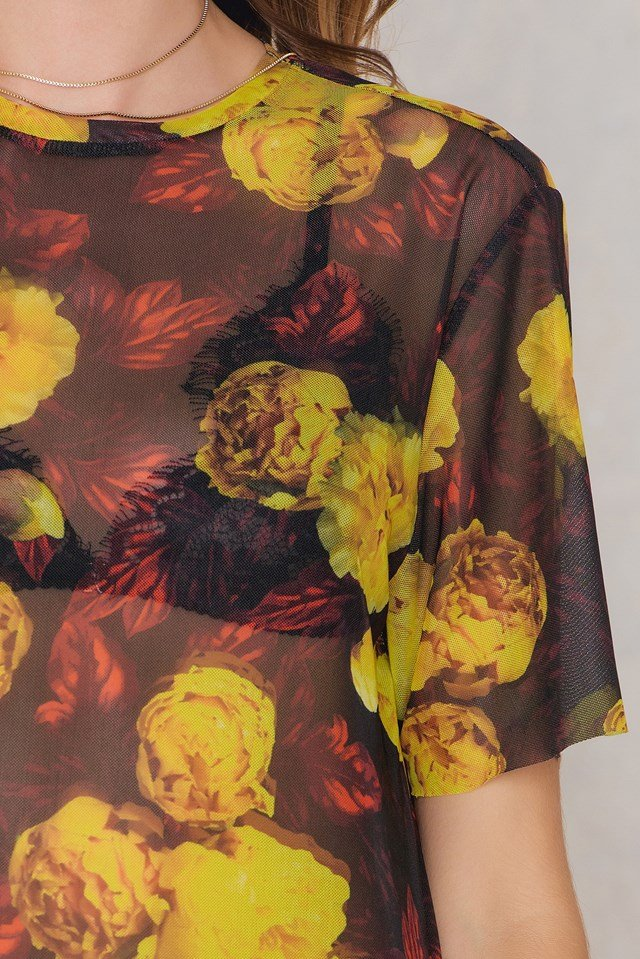 Floral Mesh Dress Yellow/Red Print