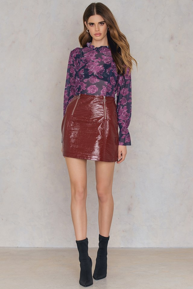 Floral Mesh Frill Top Navy/Purple