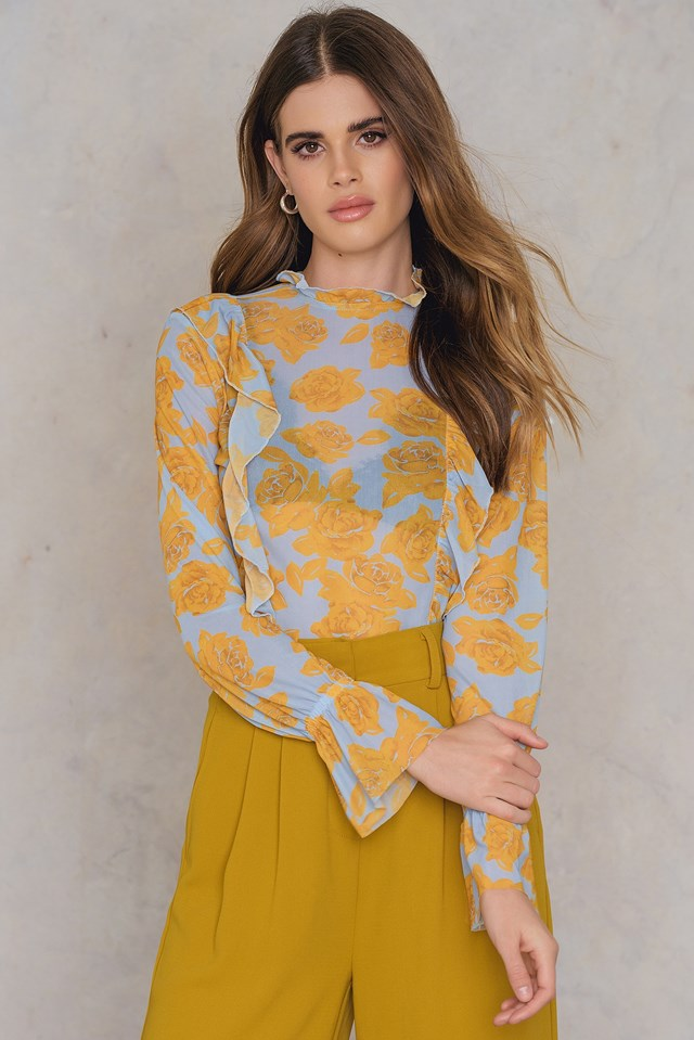 Floral Mesh Frill Top Light Blue/Yellow