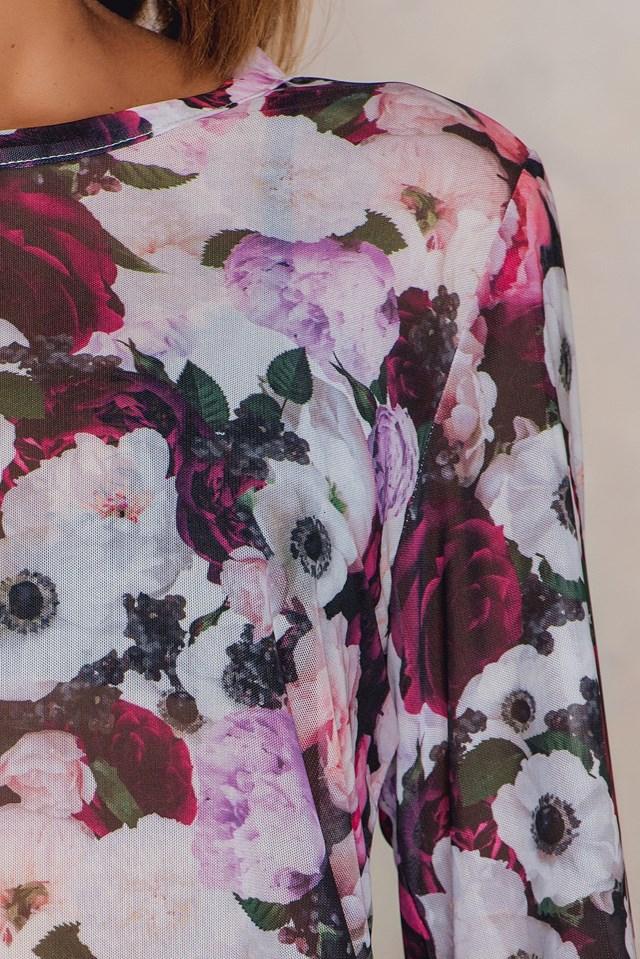 Floral Mesh Top Purple Flower