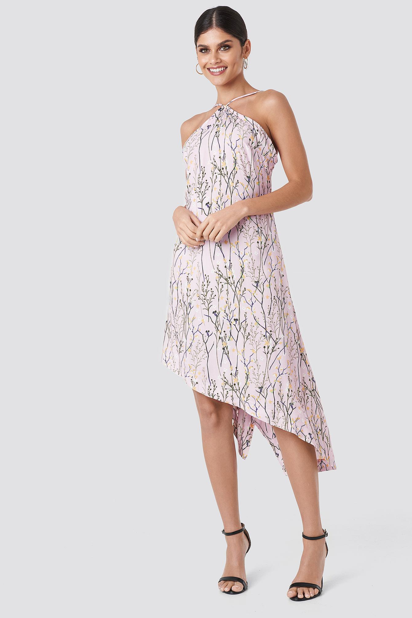 Floral Print Halter Neck Midi Dress NA-KD.COM