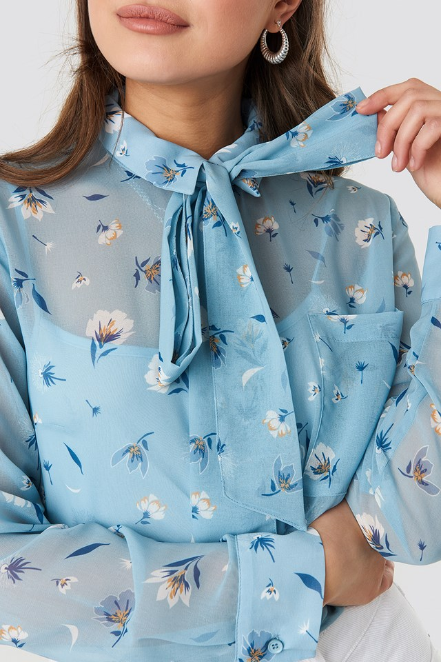 Floral Print Sheer Pussy Bow Blouse Blue