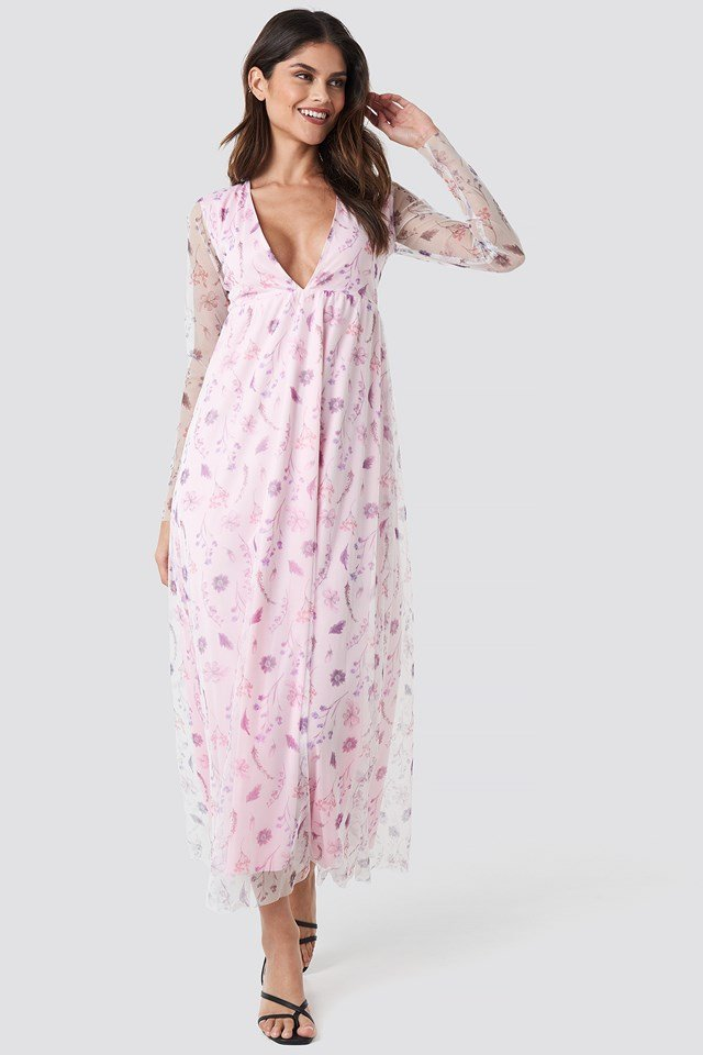Floral Sheer Ls Maxi Dress Floral Print