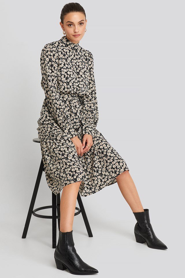 Flounce Belted Midi Dress Black