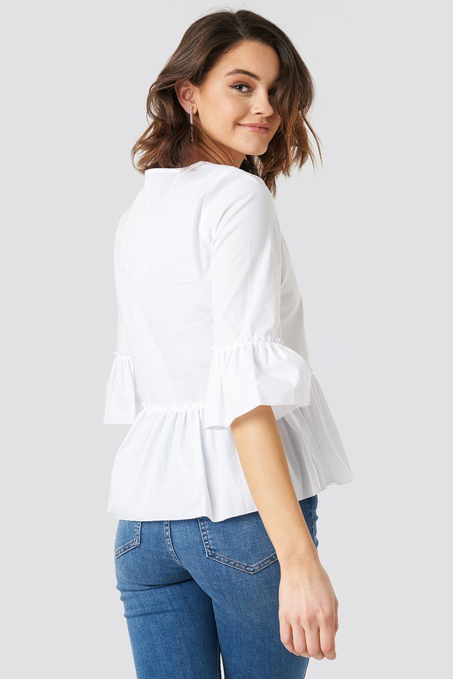 Flounce Button Blouse White