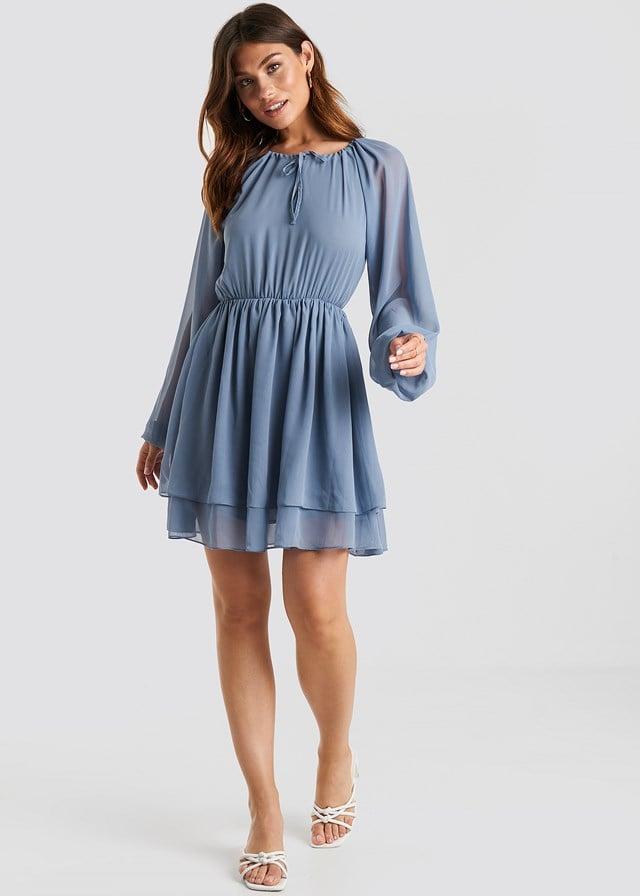 Flounce Chiffon Dress Dusty Blue