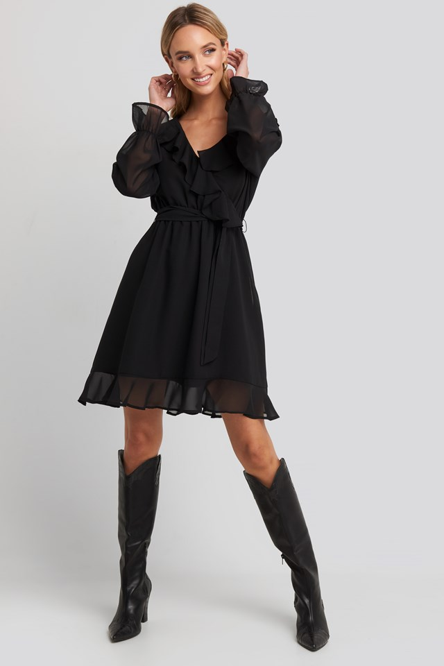 Flounce Chiffon Mini Dress Black