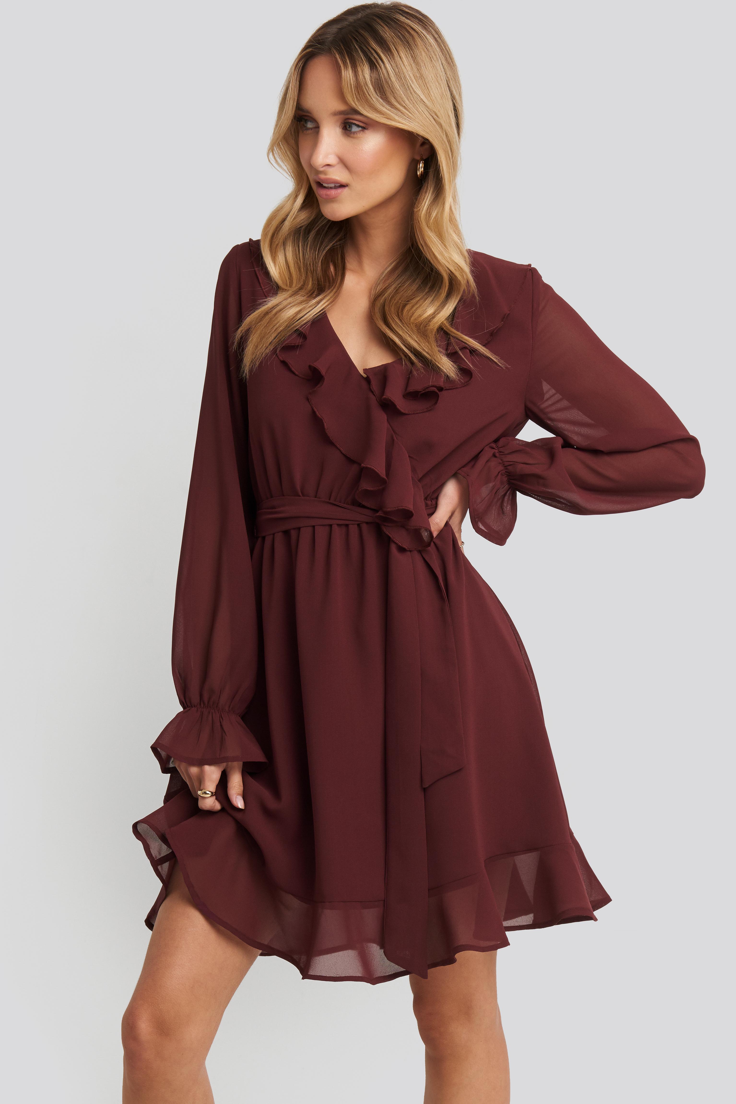 Flounce Chiffon Mini Dress Red by Na Kd