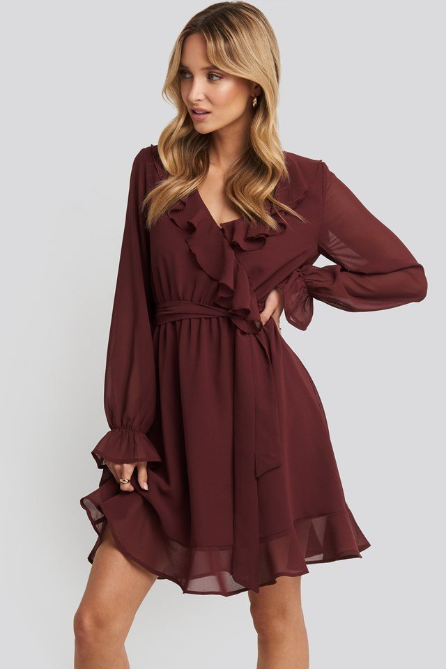 Flounce Chiffon Mini Dress Burgundy