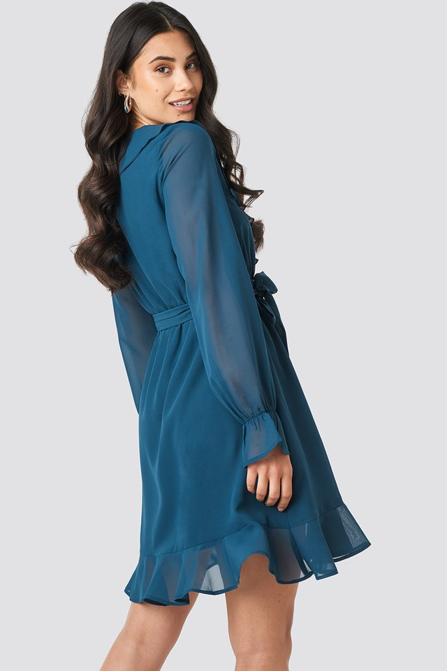Flounce Chiffon Mini Dress Blue