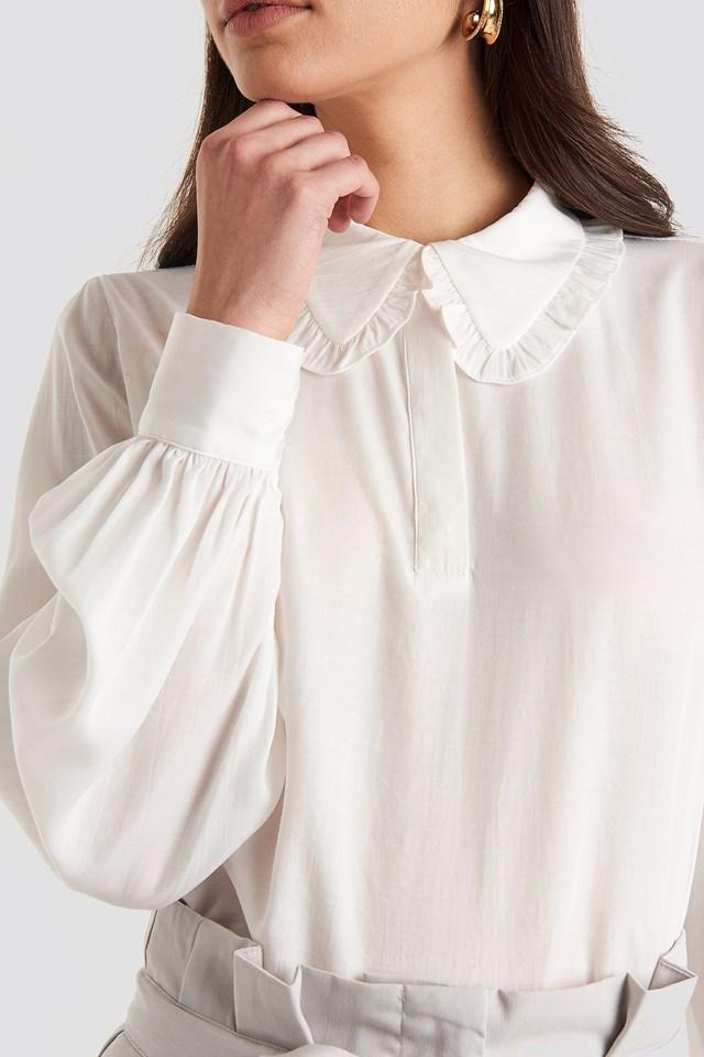 Flounce Collar Blouse White