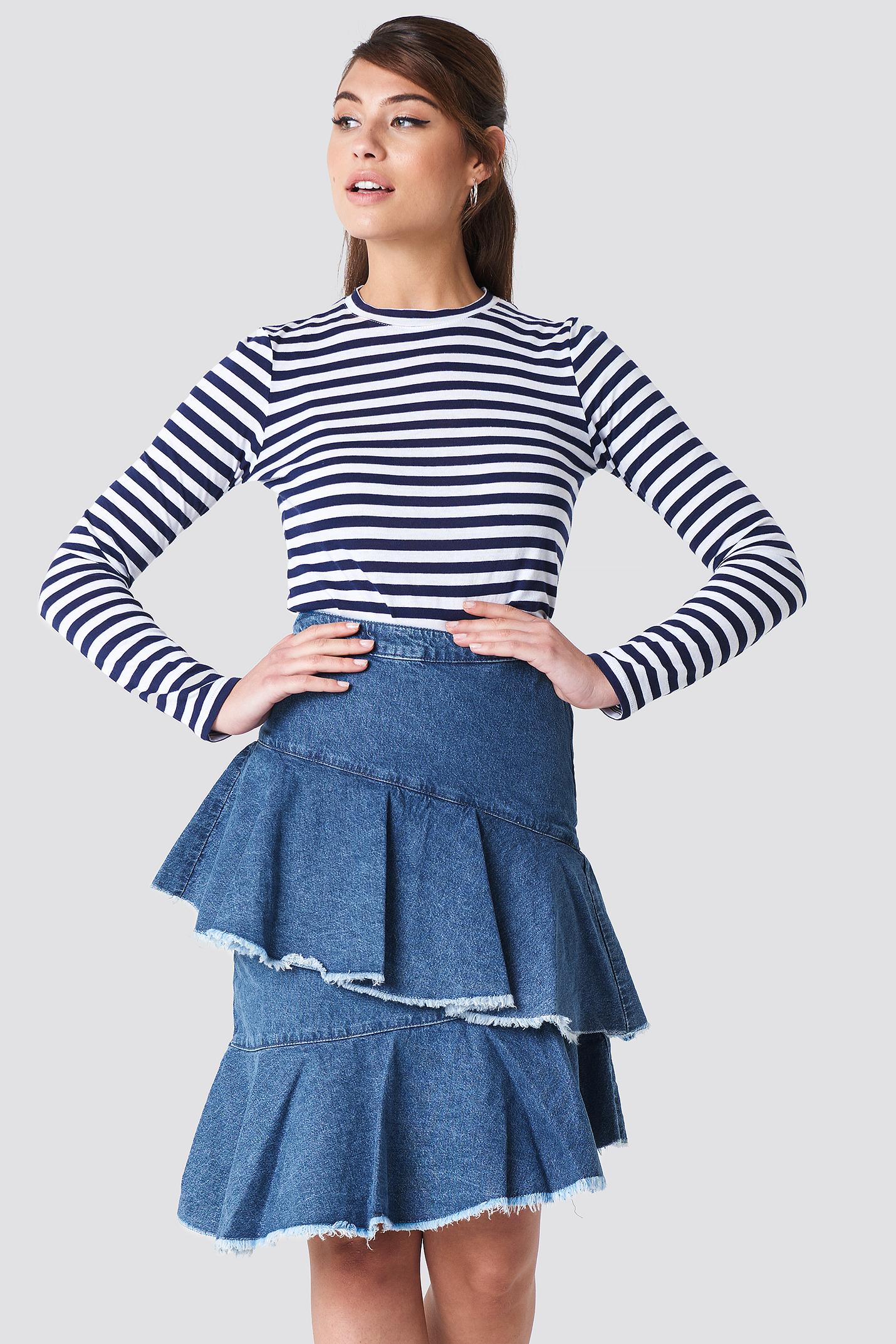 na-kd -  Flounce Denim Skirt - Blue