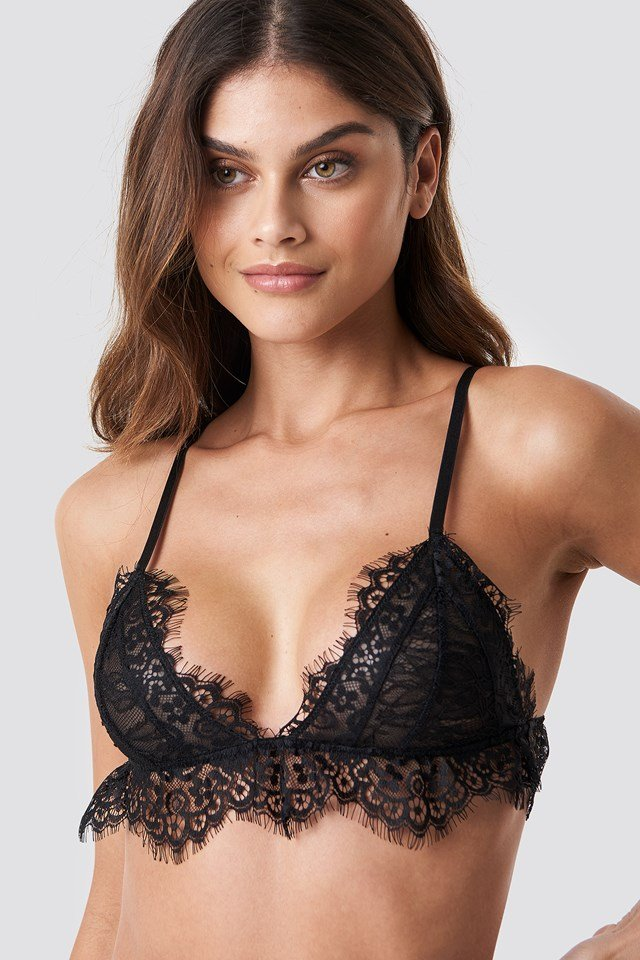Flounce Lace Triangle Bra Black