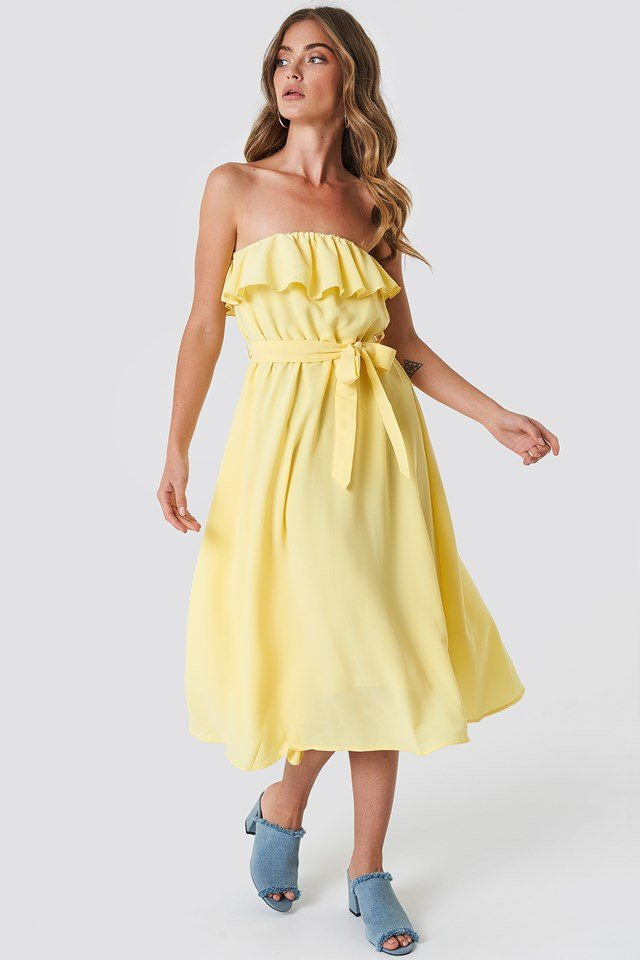 Flounce Midi Dress Yellow