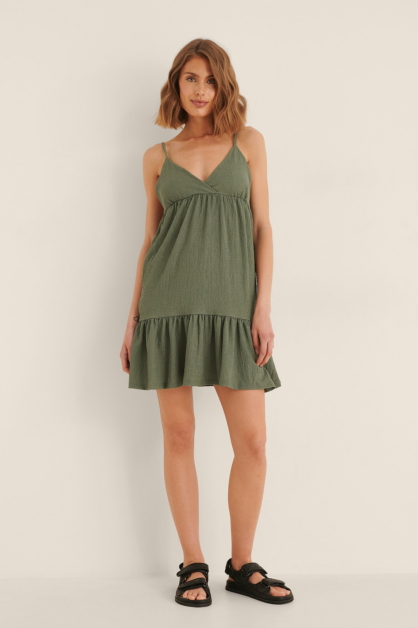 Na-kd Flounce Mini Jersey Dress - Green