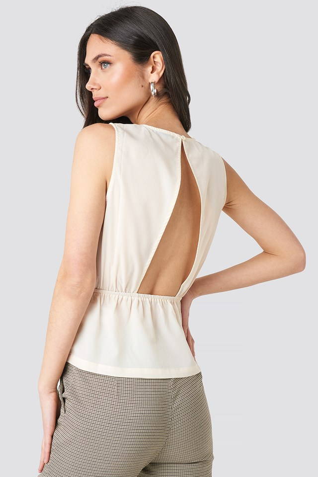 Flounce Open Back Top Cream