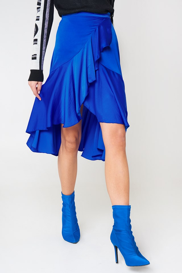 Flounce Satin Skirt Cobalt
