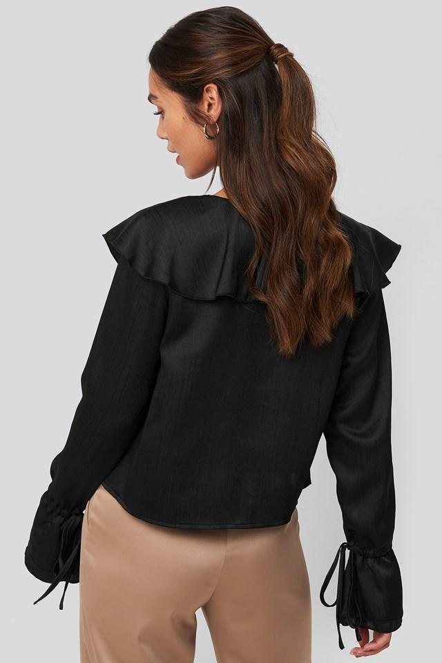 Flounce Satin Structured Blouse Black