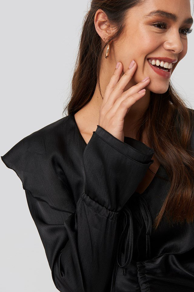 Flounce Satin Structured Blouse Black