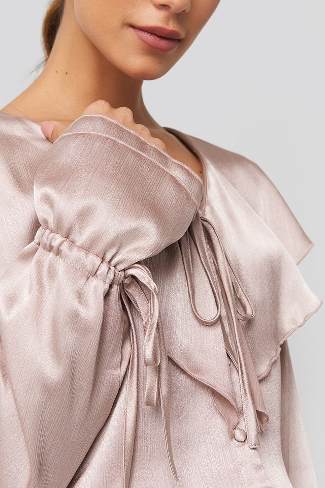 Flounce Satin Structured Blouse Dusty Pink