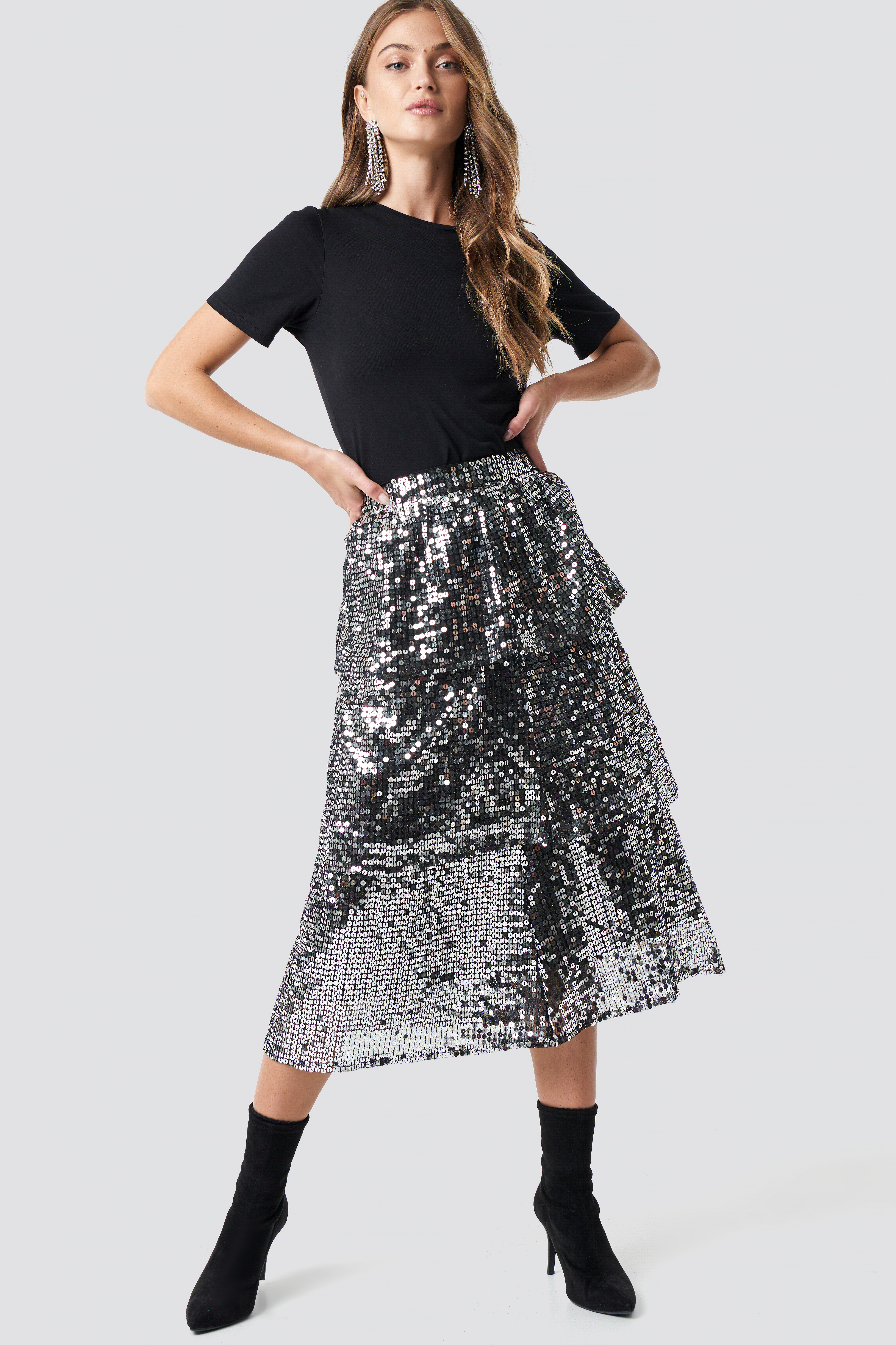 na-kd party -  Flounce Sequins Midi Skirt - Silver