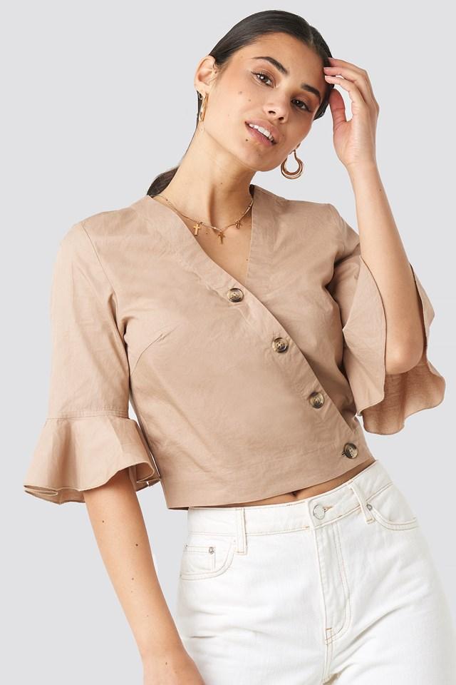 Flounce Sleeve Buttoned Blouse NA-KD.COM