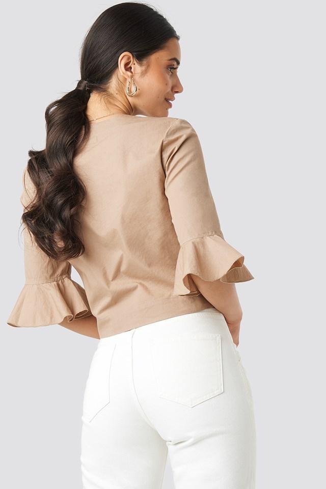 Flounce Sleeve Buttoned Blouse Beige