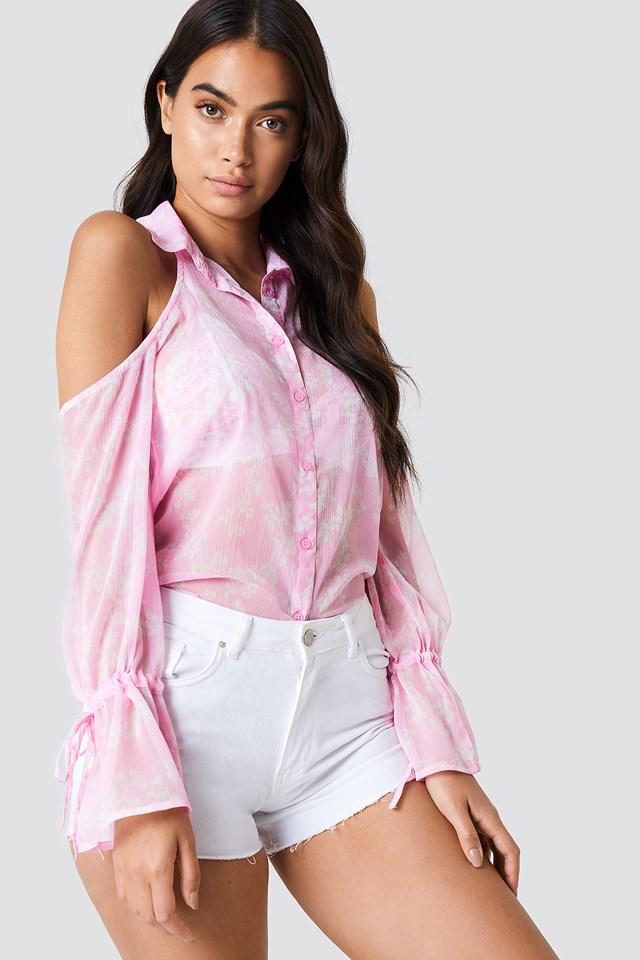 Flounce Sleeve Cold Shoulder Shirt Pink/White Blossom