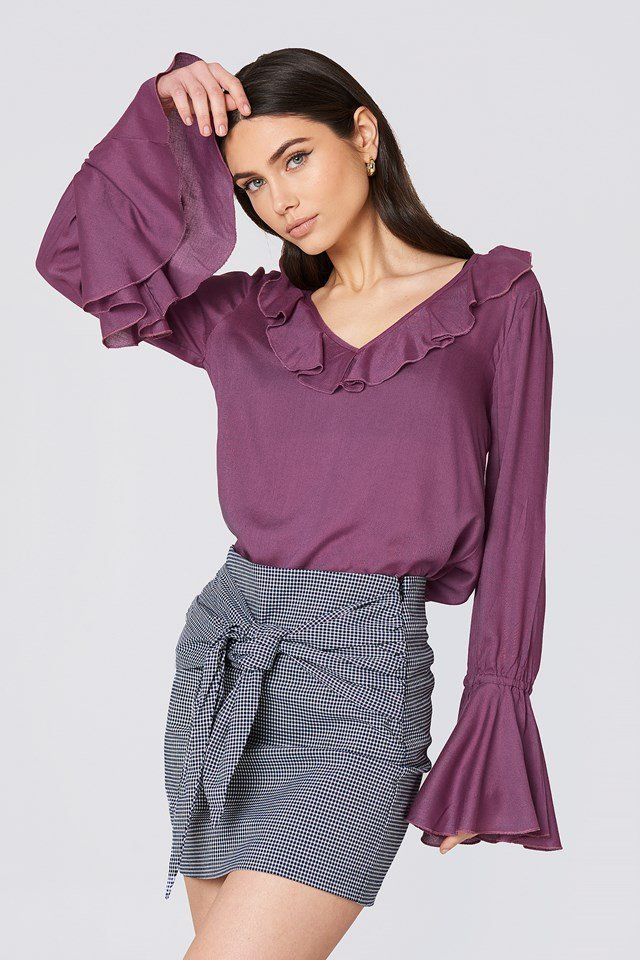 Flounce Sleeve Frill Top Dusty Purple