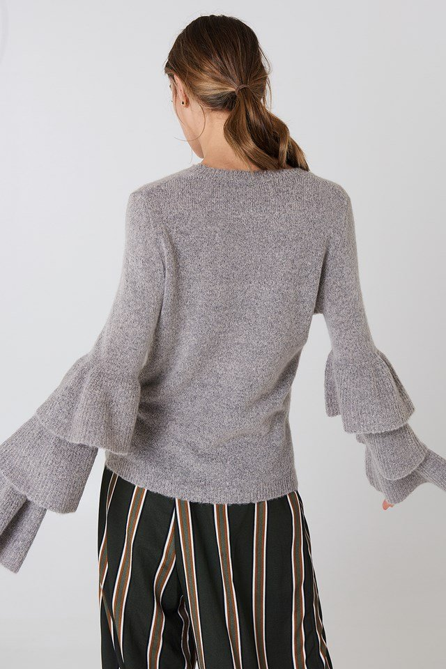 Flounce Sleeve Knitted Sweater Grey